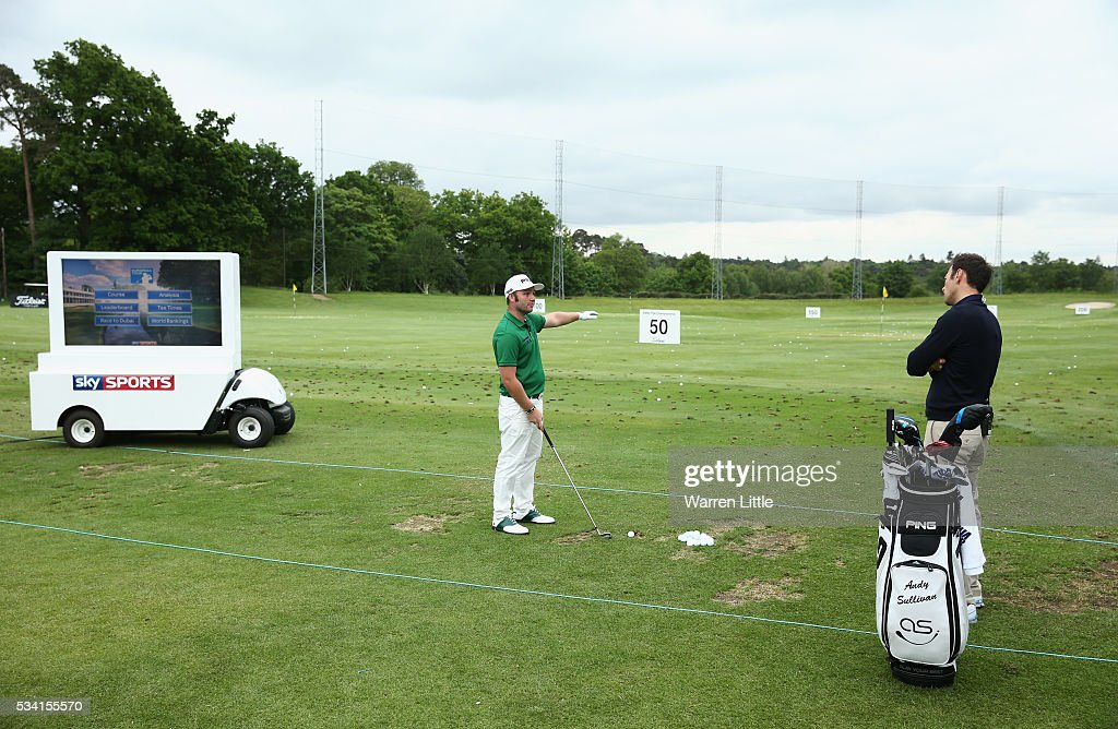 <a gi-track='captionPersonalityLinkClicked' href=/galleries/search?phrase=Andy+Sullivan+-+Golfer&family=editorial&specificpeople=13886721 ng-click='$event.stopPropagation()'>Andy Sullivan</a> of England gives a Master Class on the practice range prior to the BMW PGA Championship at Wentworth on May 25, 2016 in Virginia Water, England.