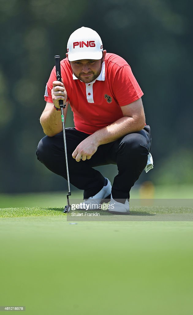 Andy Sullivan of England lines up a putt during the second round of the South African Open at Glendower Golf Club on January 9, 2015 in Johannesburg, South Africa.