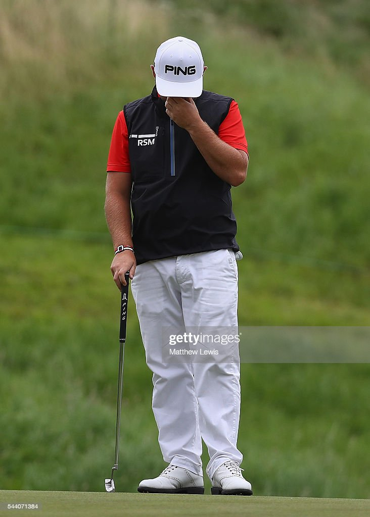 Andy Sullivan of England looks on, after missing a putt during day two of the 100th Open de France at Le Golf National on July 1, 2016 in Paris, France.