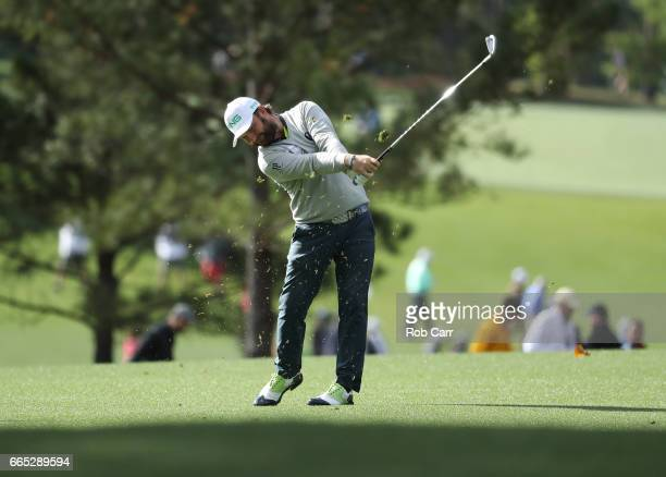 Andy Sullivan of England plays a shot on the first hole during the first round of the 2017 Masters Tournament at Augusta National Golf Club on April...