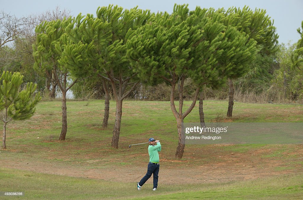 Andy Sullivan of England plays his second shot on the fifth hole during the third round of the Portugal Masters at Oceanico Victoria Golf Club on...
