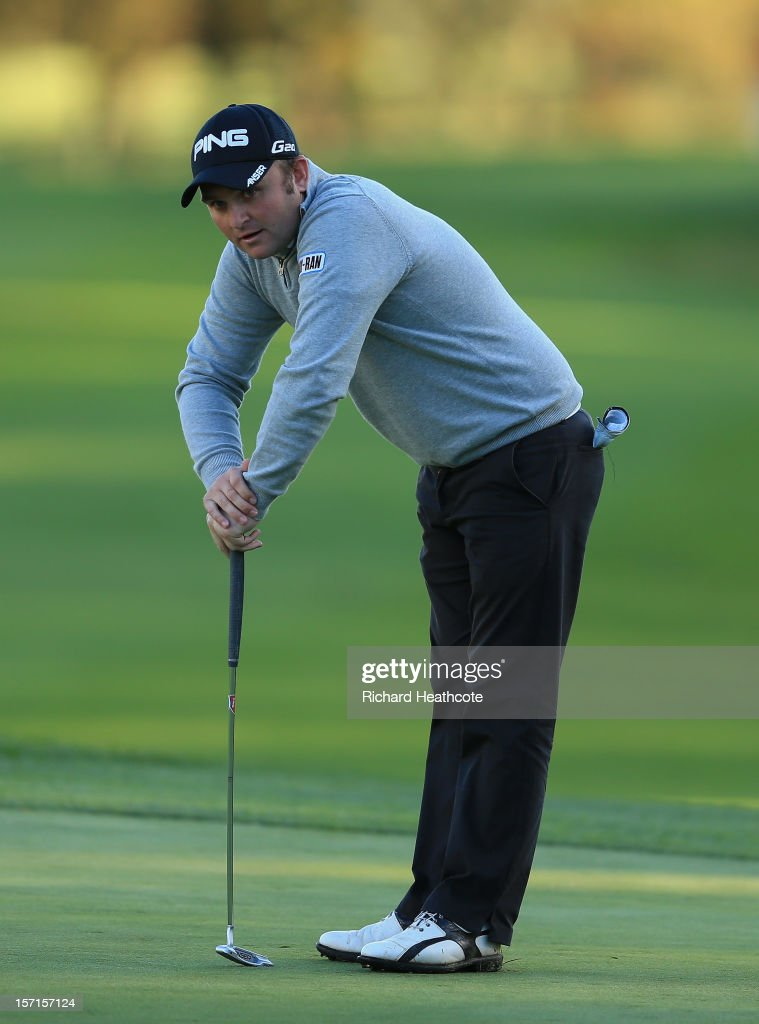 Andy Sullivan of England putts on the 18th green during the final round of the European Tour Qualifying School Finals at PGA Catalunya Resort on November 29, 2012 in Girona, Spain.