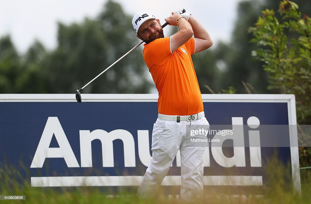 Andy Sullivan of England tees off during a pro-am round ahead of the 100th Open de France at Le Golf National on June 29, 2016 in Paris, France.