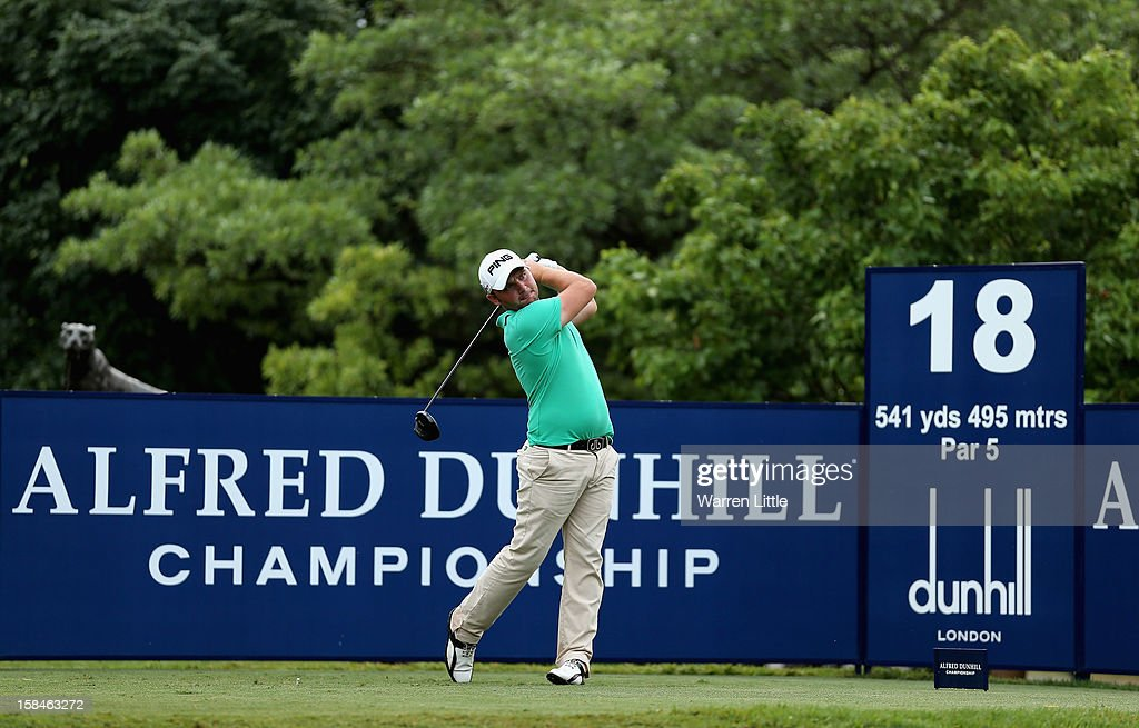 Andy Sullivan of England tees off on the 18th hole during the final round of the Alfred Dunhill Championship at Leopard Creek Country Golf Club on December 16, 2012 in Malelane, South Africa.