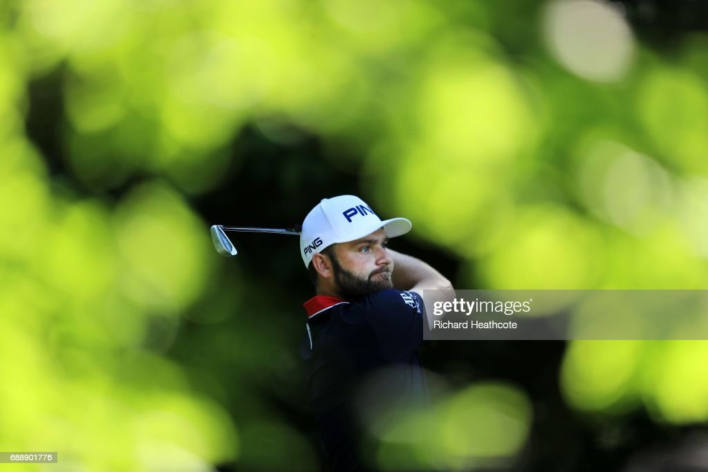 Andy Sullivan of England tees off on the 5th hole during day two of the BMW PGA Championship at Wentworth on May 26, 2017 in Virginia Water, England.