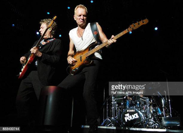 Andy Summers Sting amp Stewart Copeland of the Police in concert at the National Indoor Arena in Birmingham