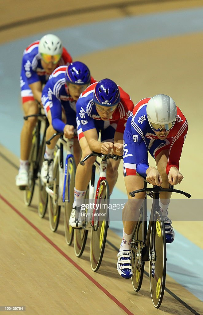 Andy Tennant of Great Britain leads the Pursuit Team during training for the UCI Track Cycling World Cup at Sir Chris Hoy Velodrome on November 15, 2012 in Glasgow, Scotland.