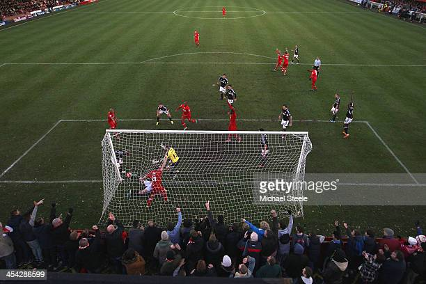 Andy Todd of Tamworth scores his sides goal during the FA Cup Second Round match between Tamworth and Bristol City at The Lamb Ground on December 8...