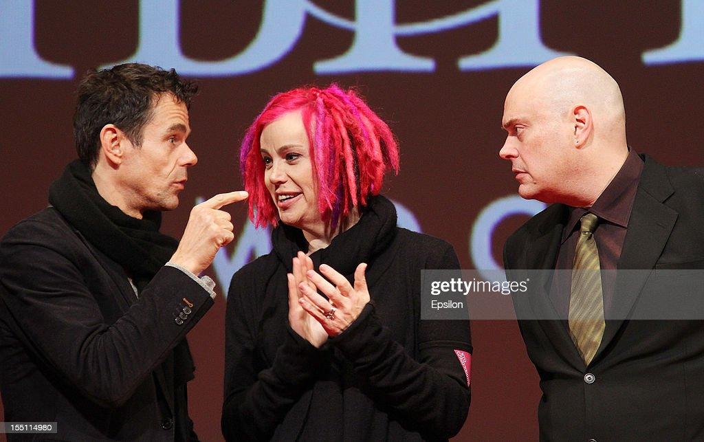 Andy Wachowski, Lana Wachowski and Tom Tykwer arrive at the premiere of Warner Bros. Pictures' 'Cloud Atlas' in Oktyabr cinema hall on November 1, 2012 in Moscow, Russia.