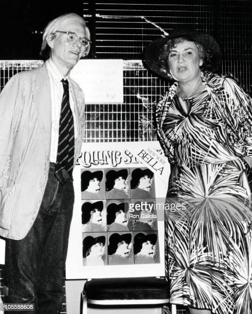 Andy Warhol and Bella Abzug during Andy Warhol Unveils Rolling Stone Magazine Cover in New York City New York United States
