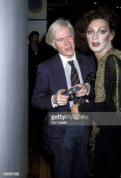 Andy Warhol and Holly Woodlawn during Fiorucci Disco Party at Fiorucci Boutique in New York City New York United States