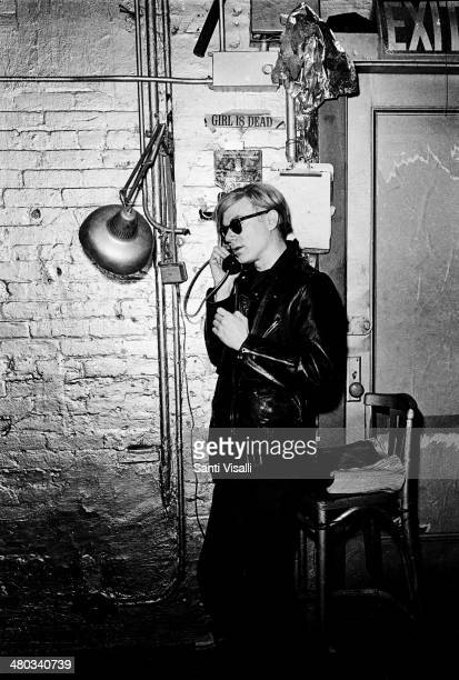 Andy Warhol at the Factory on the phone on May 5 1968 in New York New York