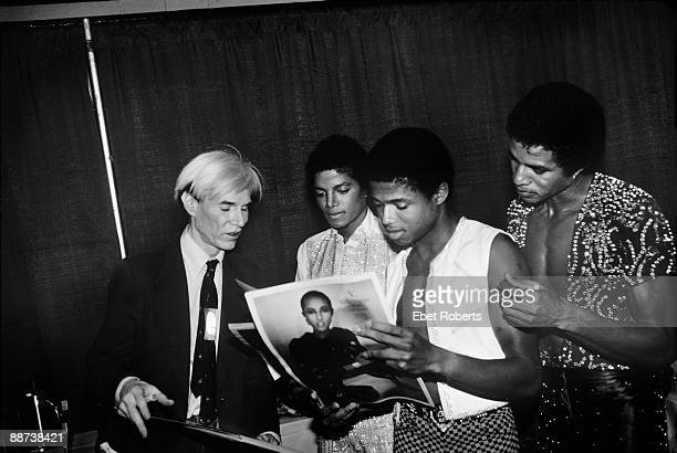 Andy Warhol Michael Jackson Randy Jackson and Jackie Jackson of the Jacksons at Madison Square Garden on August 19th 1981 in New York