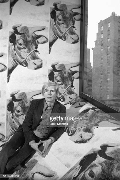 Andy Warhol photographed April 28 1971 at his retrospective exhibition at the Whitney Museum of American Art in NYC