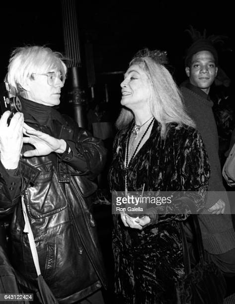 Andy Warhol Sylvia Miles and JeanMichel Basquiat attend Sade Concert Party on December 10 1985 at Nishi Naho Restaurant in New York City