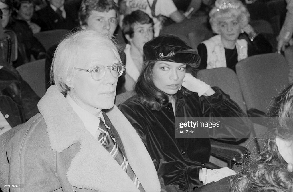 Andy Warhol with Bianca Jagger at the Beacon Theater circa 1970 New York
