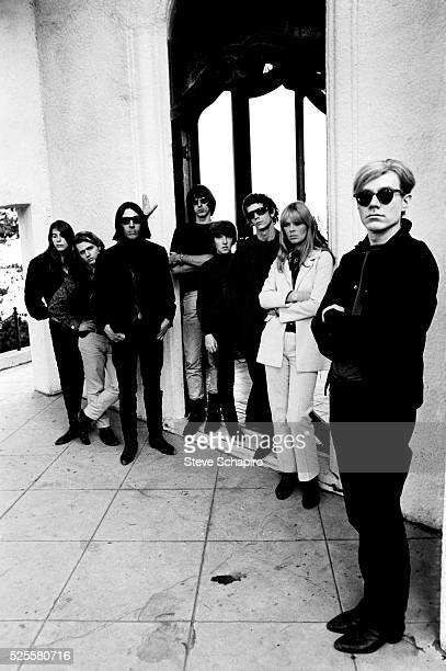 Andy Warhol with Mary Woronov Gerard Malanga John Cale Sterling Morrison Maureen Tucker Lou Reed and Nico at Phillip Law's home during the Exploding...