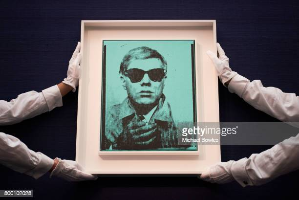 Andy Warhol's first selfportrait goes on view at Sotheby's on June 23 2017 in London England