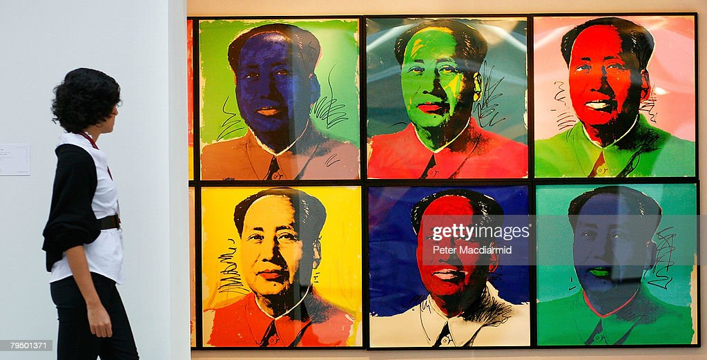 Andy Warhol's 'Mao' is displayed at Christie's on February 4 2008 in London Christie's Post War and Contemporary Art Evening Sale takes place in...