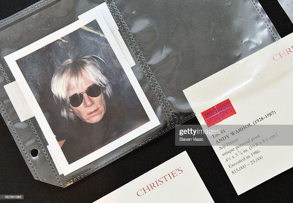 Andy Warhol's 'Self-Portrait' unique Polaroid print on display at a press preview for the Andy Warhol @ Christie's online-only sale on February 22, 2013 in New York City. The sale will be the first ever online-only sale of Warhol's work with 125 pieces and runs February 26 to March 5.