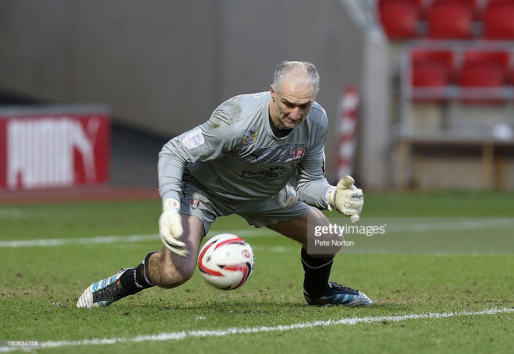 Andy Warrington of Rotherham United attempts to collect the ball during the npower League Two match between Rotherham United and Northampton Town at New York Stadium on February 2, 2013 in Rotherham, England.