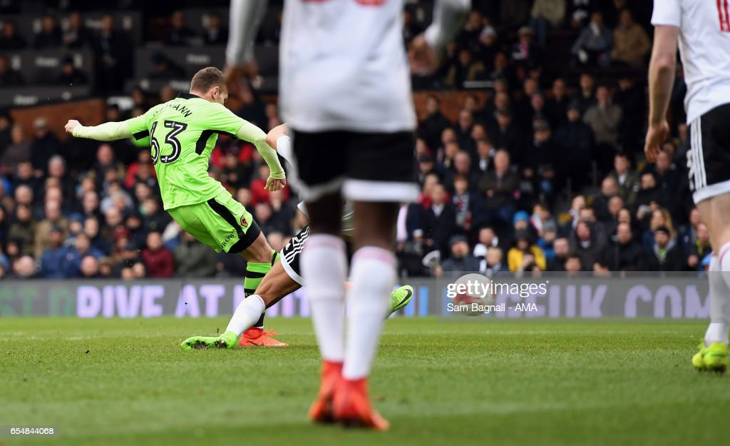 Andy Weimann of Wolverhampton Wanderers scores a goal to make it 0-2 during the Sky Bet Championship match between Fulham and Wolverhampton Wanderers at Craven Cottage on March 18, 2017 in London, England.