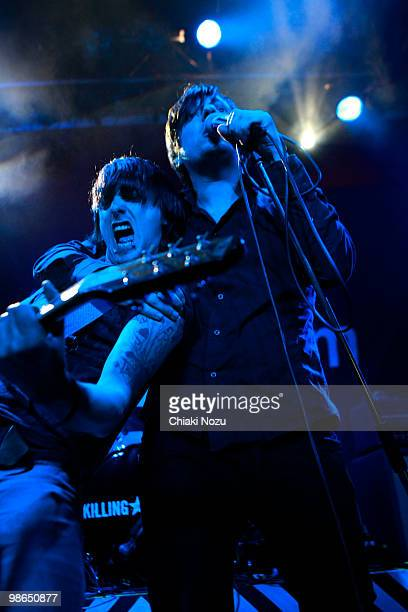 Andy Williams and Greg Jones of Killing For Company perform at O2 Islington Academy on April 24 2010 in London England