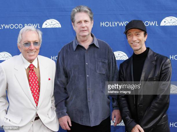 Andy Williams Brian Wilson and Robin Gibb during The Hollywood Bowl Fifth Annual Hall Of Fame ConcertBackstage at The Hollywood Bowl in Los Angeles...