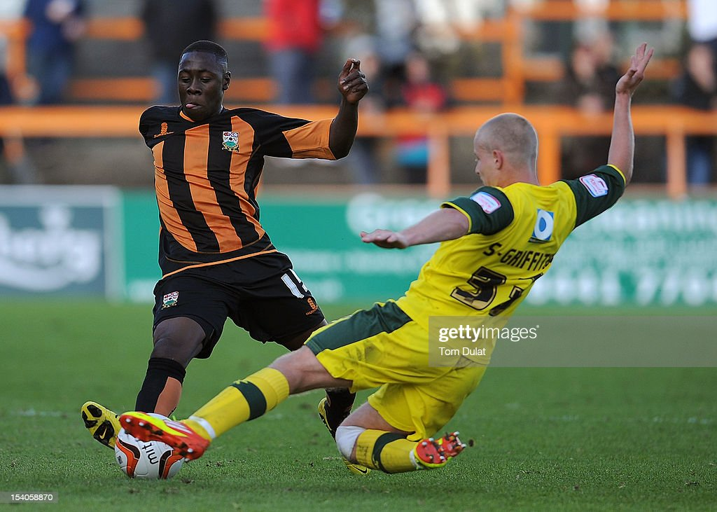 Andy Yiadom of Barnet and Scott Griffiths of Plymouth Argyle in action during the npower League Two match between Barnet and Plymouth Argyle at Underhill Stadium on October 13, 2012 in Barnet, England.