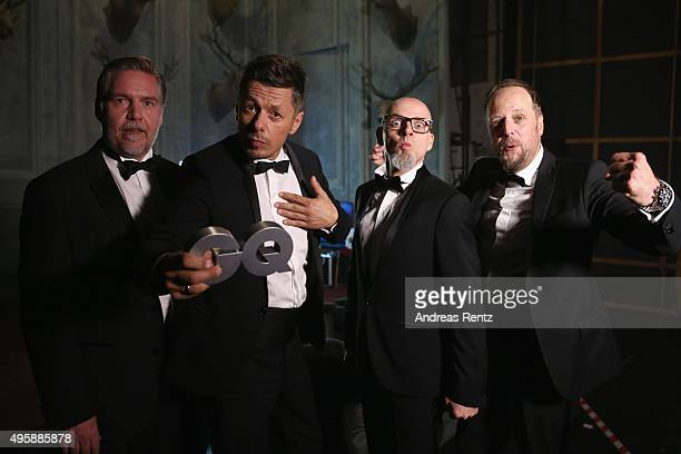 AndYpsilon Michi Beck Thomas D and Smudo of 'Die Fantastischen Vier' pose backstage at the GQ Men of the year Award 2015 at Komische Oper on November...