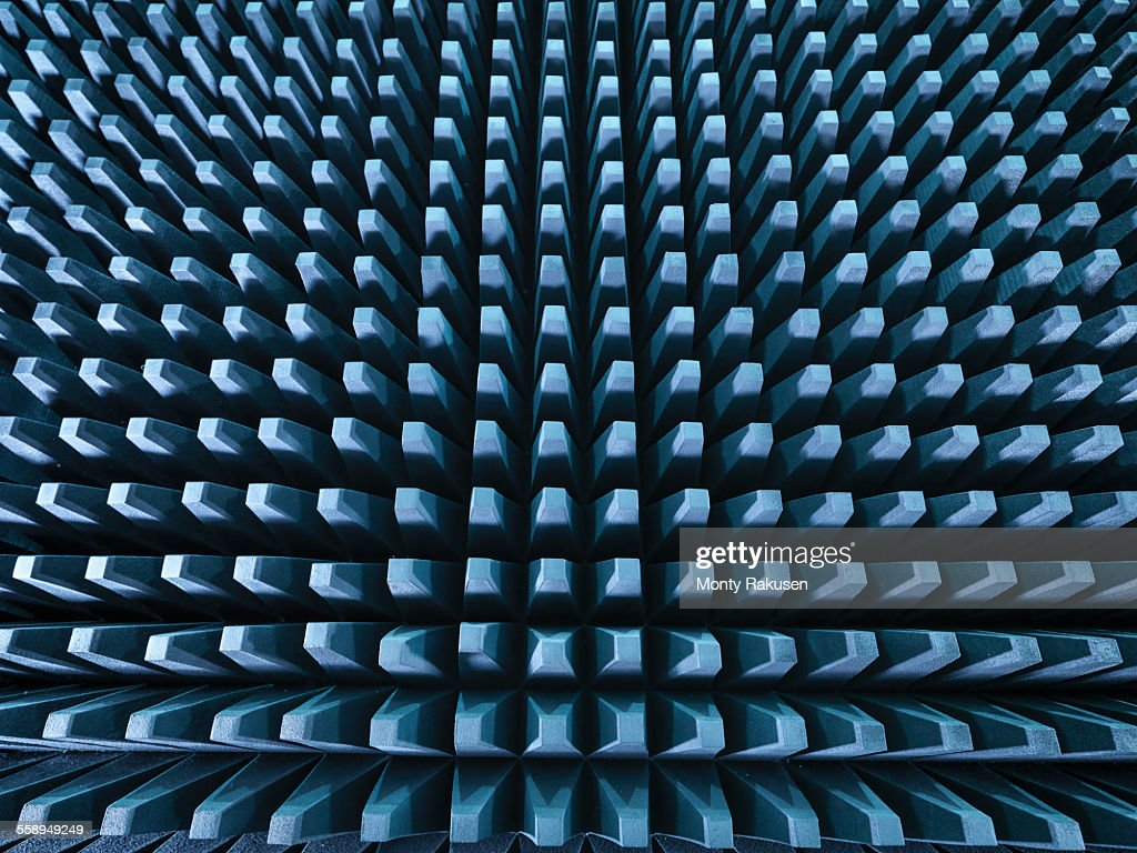 Anechoic chamber with radio frequency absorber material, close up