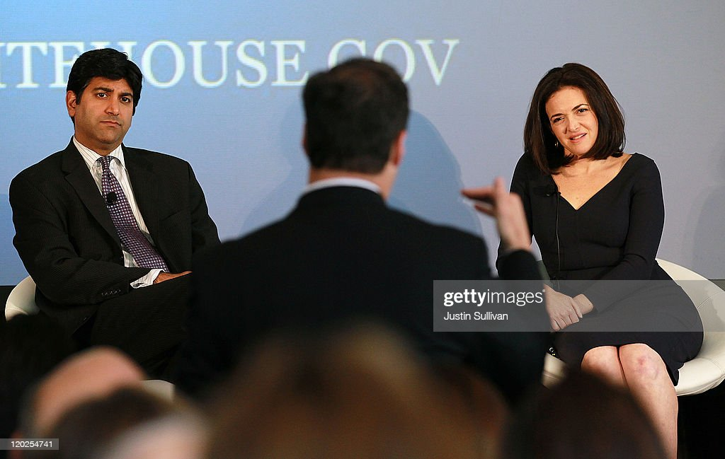 Aneesh Chopra (L), Chief Technology Officer of the United States, and Facebook COO <a gi-track='captionPersonalityLinkClicked' href=/galleries/search?phrase=Sheryl+Sandberg&family=editorial&specificpeople=5922850 ng-click='$event.stopPropagation()'>Sheryl Sandberg</a> (R) field a question from the audience during the President's Council on Jobs and Competitiveness High Growth Business and Entrepreneurship Listening and Action Session at the VMware headquarters on August 2, 2011 in Palo Alto, California. Jobs Council members, administration officials and Silicon Valley leaders spoke with entrepreneurs about how public and private sectors can partner to create jobs through innovation.