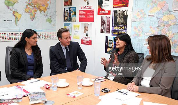 Aneeta Prem of the Freedom Charity David Cameron Jasvinder Sanghera of Karwia Nirvana and Home Office Women's Minister Lynne Featherstone during a...
