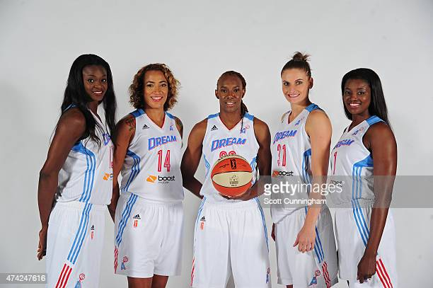 Aneika Henry Erika de Souza Sancho Lyttle Nadia Colhado and DeLisha MiltonJones of the Atlanta Dream poses for a photograph during WNBA Media Day on...