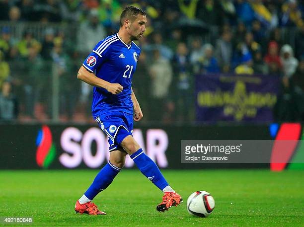 Anel Hadzic of Bosnia in action during the Euro 2016 qualifying football match between Bosnia and Herzegovina and Wales at the Stadium Bilino Polje...