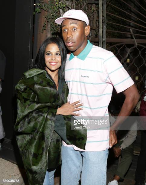 Anel Pla and Tyler the Creator attend Roc96 x Madeworn Barney's Launch Event at Madeworn Studios on May 4 2017 in Los Angeles California
