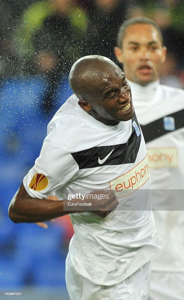 Anele Ngongca of KRC Genk in action during the UEFA Europa League group stage match between FC Basel 1893 and KRC Genk held on October 4, 2012 at the St. Jakob-Park in Basel, Switzerland.