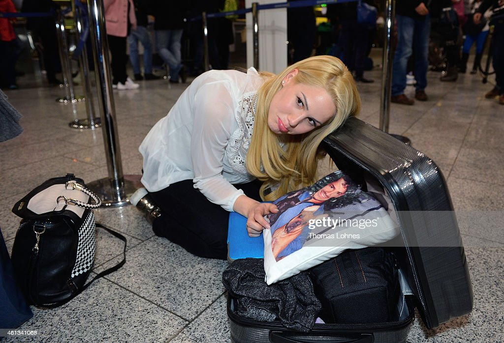 Anelina Heger poses before the flight to Australia as a participant in the 2015 RTLTVShow 'Dschungelcamp Ich bin ein Star Holt mich hier raus' at...