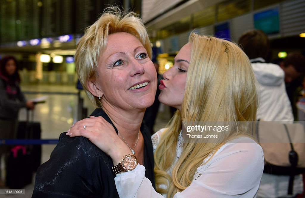 Anelina Heger poses with her mother Manuela before the flight to Australia as a participant in the 2015 RTLTVShow 'Dschungelcamp Ich bin ein Star...