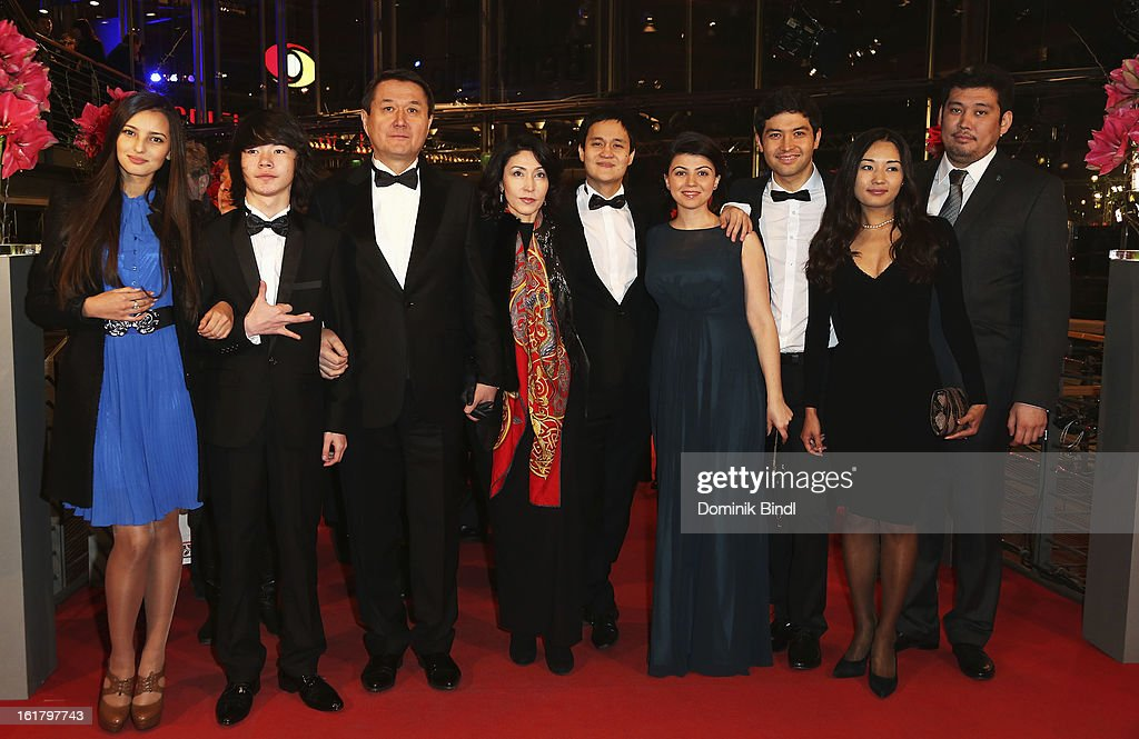 Anelya Adilbekova (L), Timur Aidarbekov (2nd L), Emir Baigazin (5th R) and Anna Katchko (4th R) attend the Closing Ceremony of the 63rd Berlinale International Film Festival at Berlinale Palast on February 14, 2013 in Berlin, Germany.