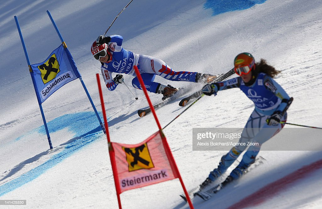 Anemone Marmottan of France and Resi Stiegler of the USA compete during the Audi FIS Alpine Ski World Cup Nations Team Event on March 16 2012 in...