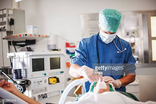 Anesthetic nurse and patient