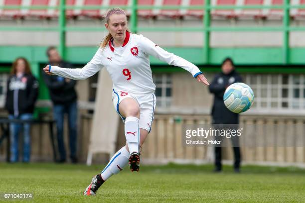 Aneta Buryanova of Czech Republic controls the ball during the Under 15 girls international friendly match between Czech Republic and Germany on...