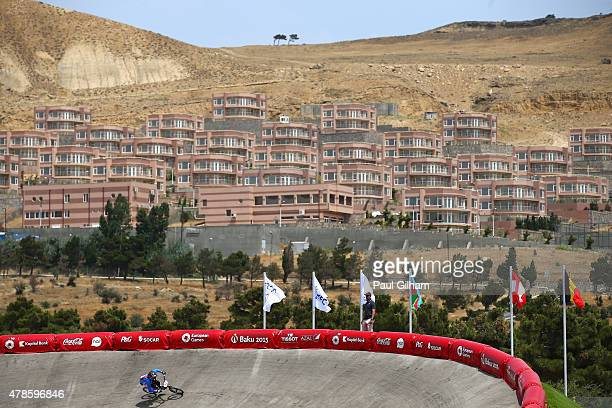 Aneta Hladikova of the Czech Republic competes in the Women's BMX Time Trial qualifying during day fourteen of the Baku 2015 European Games at the...