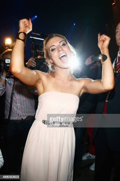 Aneta Sablik celebrates after winning the final of 'Deutschland sucht den Superstar' show at Coloneum on May 3 2014 in Cologne Germany