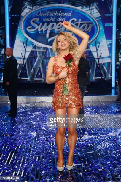 Aneta Sablik celebrates on stage after winning the final of the 'Deutschland sucht den Superstar' show at Coloneum on May 3 2014 in Cologne Germany