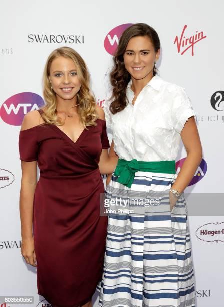 Anett Kontaveit and Natalia Vikhlyantseva attend the annual WTA PreWimbledon Party at The Roof Gardens Kensington on June 29 2017 in London United...