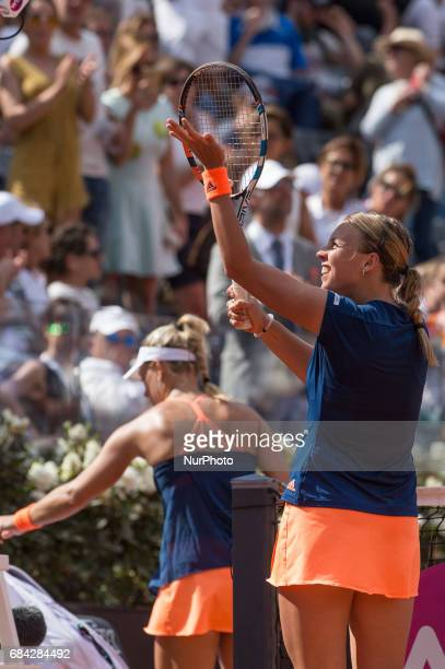 Anett Kontaveit celebrates the victory during the match between Angelique Kerber vs Anett Kontaveit at the Internazionali BNL d'Italia 2017 at the...