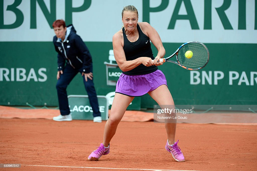 Anett Kontaveit during the Women's Singles first round on day three of the French Open 2016 at Roland Garros on May 24, 2016 in Paris, France.