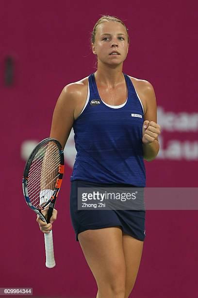 Anett Kontaveit of Estonia celebrates a point during the match against Lesia Tsurenko of Ukraine on Day 5 of WTA Guangzhou Open on September 23 2016...